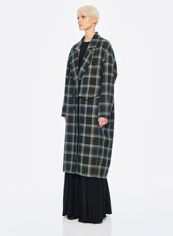 Spencer Plaid Cocoon Shape Maxi Coat Army Green Multi-2