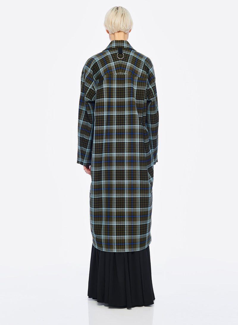 Spencer Plaid Cocoon Shape Maxi Coat Army Green Multi-3