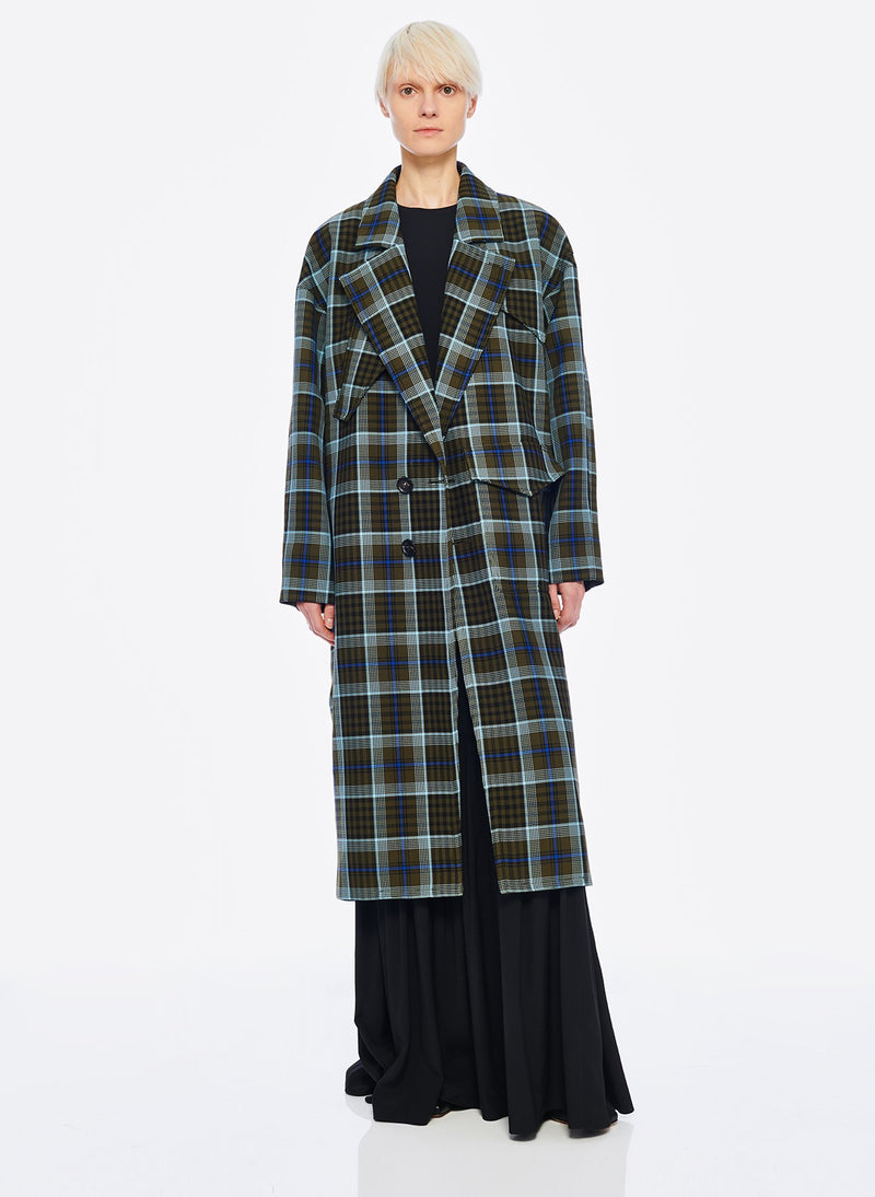 Spencer Plaid Cocoon Shape Maxi Coat Army Green Multi-6