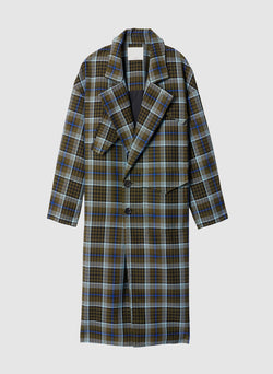 Spencer Plaid Cocoon Shape Maxi Coat Army Green Multi-7