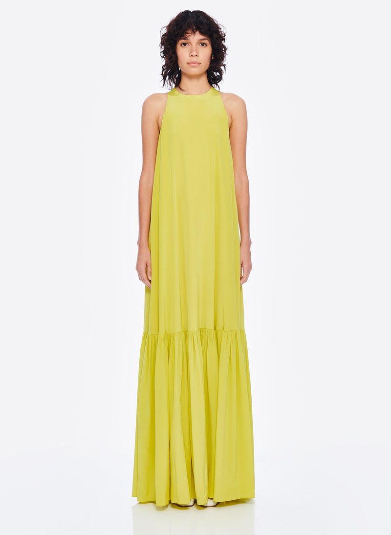 Heavy Silk CDC Long Halter Dress Lime Yellow-1