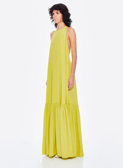 Heavy Silk CDC Long Halter Dress Lime Yellow-2