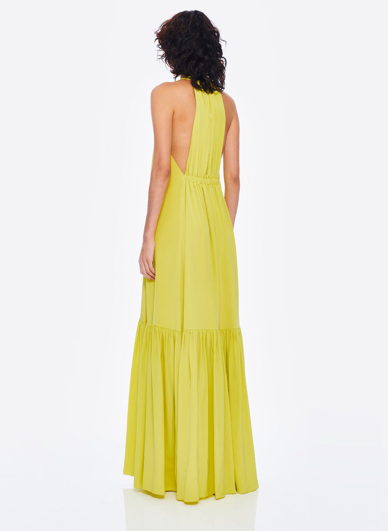 Heavy Silk CDC Long Halter Dress Lime Yellow-3