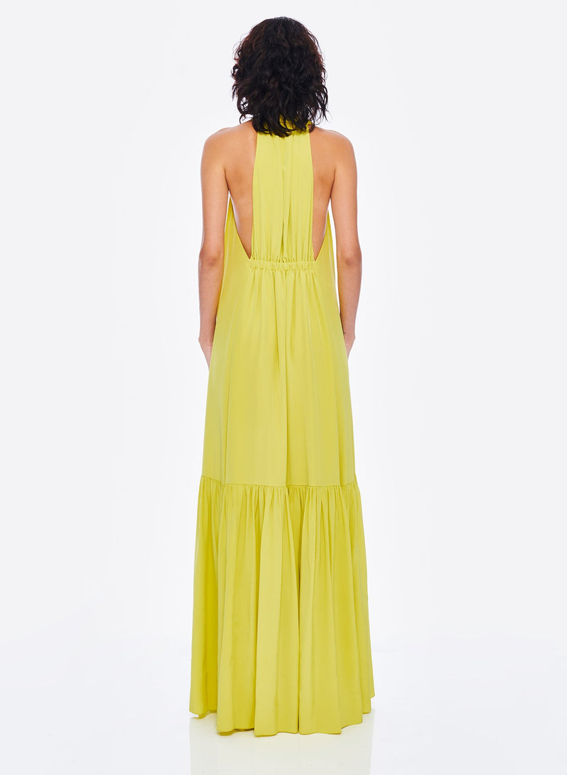 Heavy Silk CDC Long Halter Dress Lime Yellow-4