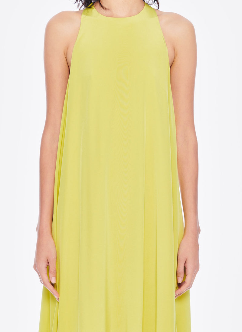 Heavy Silk CDC Long Halter Dress Lime Yellow-5