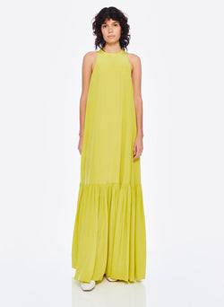 Heavy Silk CDC Long Halter Dress Lime Yellow-6