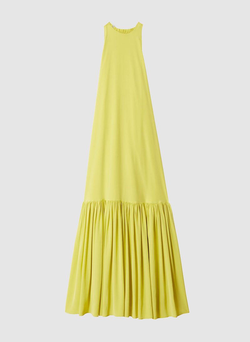 Heavy Silk CDC Long Halter Dress Lime Yellow-7