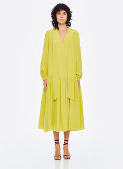 Heavy Silk CDC Drop Waist Dress Lime Yellow-1