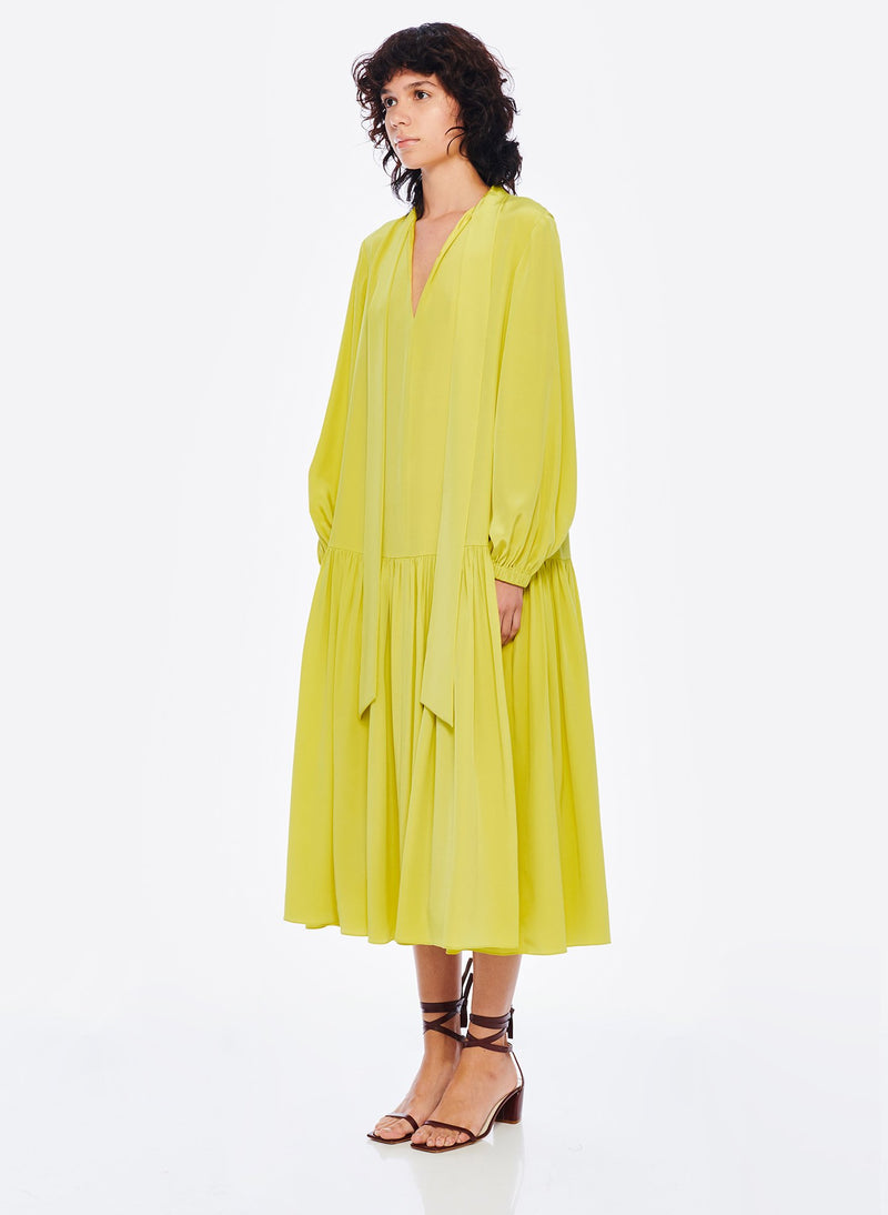 Heavy Silk CDC Drop Waist Dress Lime Yellow-2