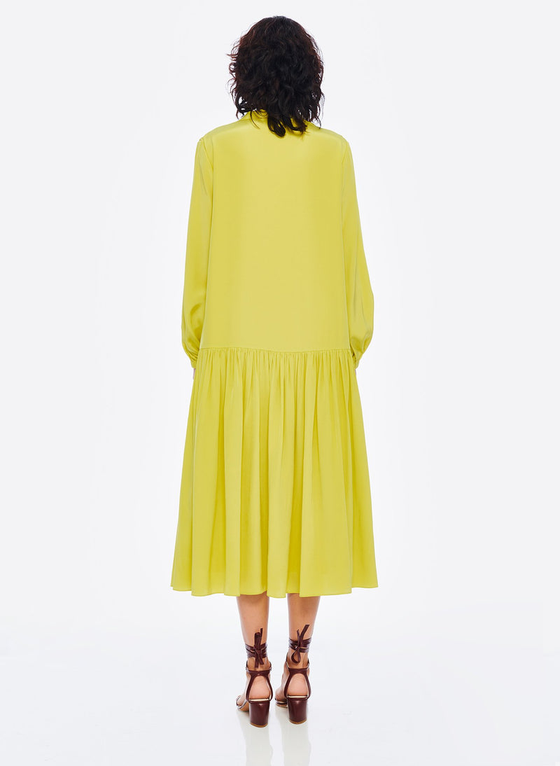 Heavy Silk CDC Drop Waist Dress Lime Yellow-3