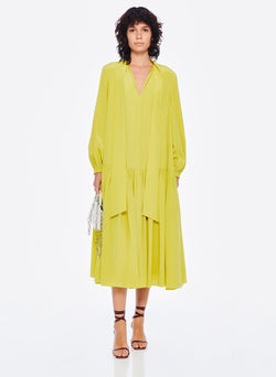 Heavy Silk CDC Drop Waist Dress Lime Yellow-4