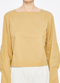 Satin Poplin Boatneck Top Khaki-4