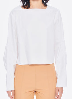 Satin Poplin Boatneck Top White-9