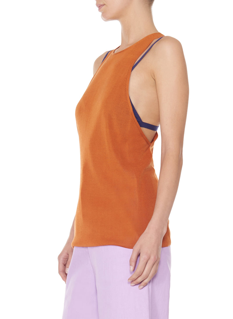 Claire Sweater Tank Rust-10
