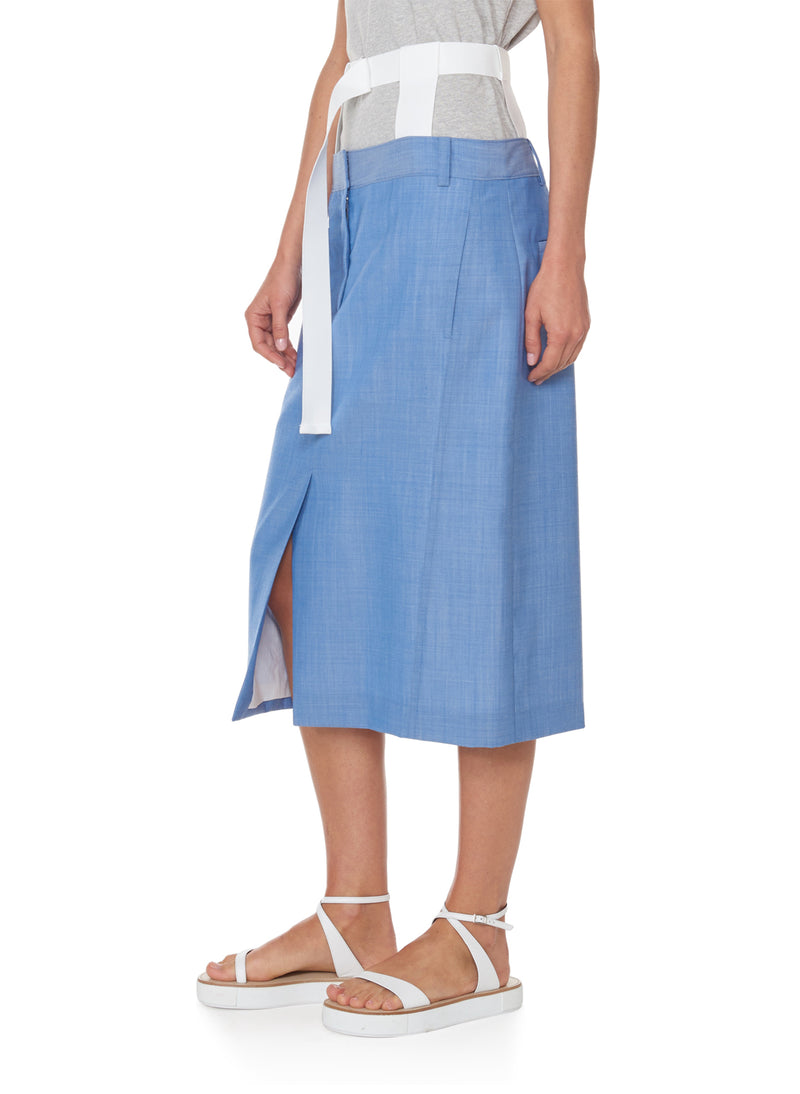 Serge Suiting Skirt Soft Blue-2
