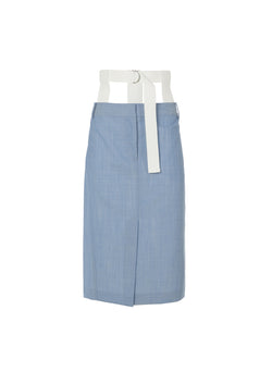 Serge Suiting Skirt Soft Blue-4
