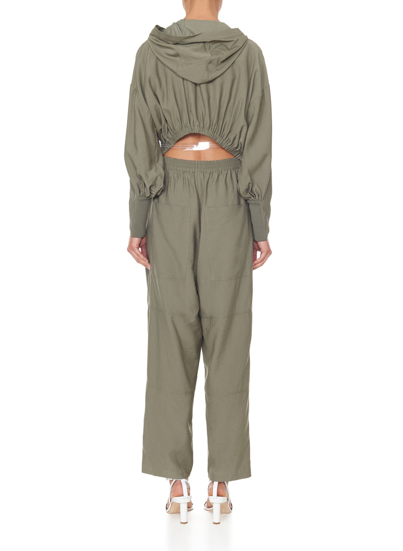 Washed Viscose Jumpsuit Moss-3