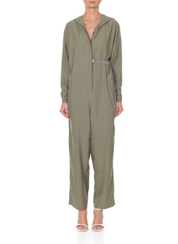 Washed Viscose Jumpsuit Moss-1