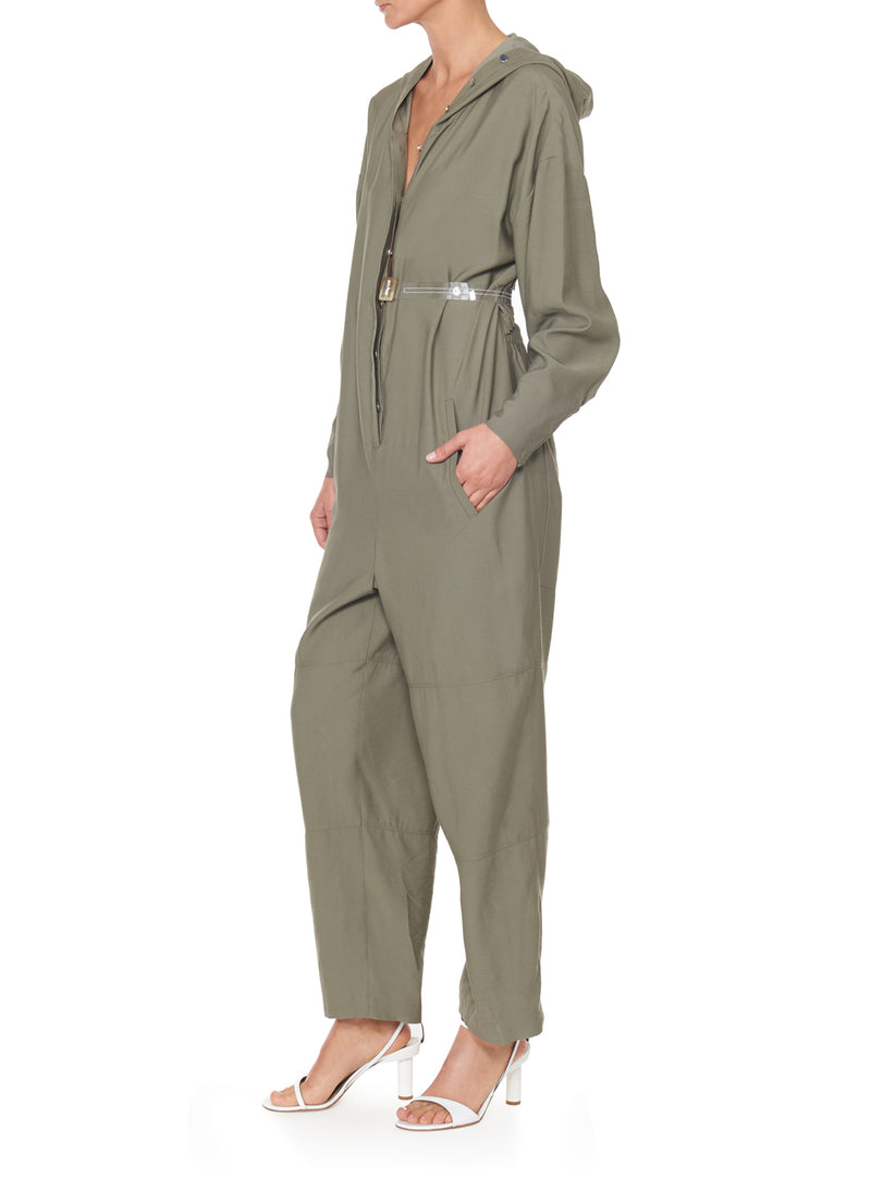 Washed Viscose Jumpsuit Moss-2