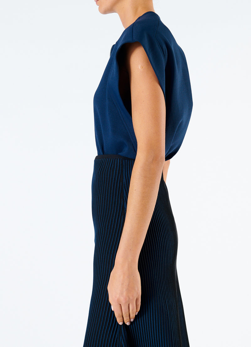 Chalky Drape Sleeveless Top Navy-6