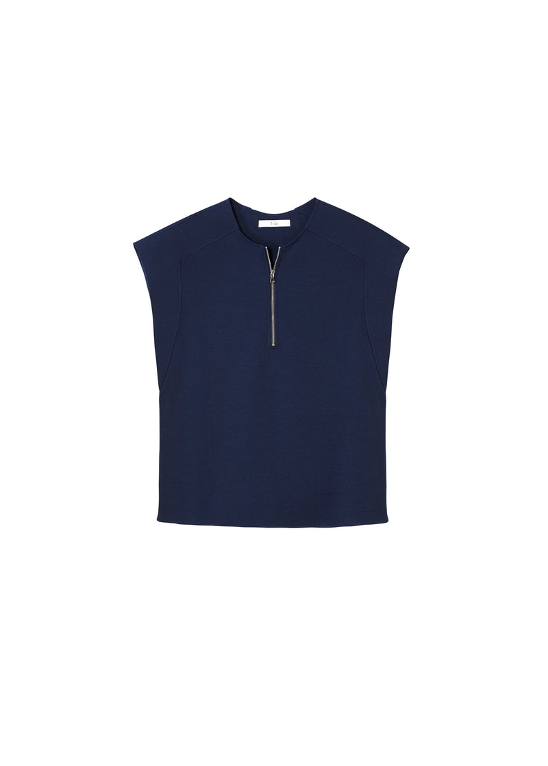 Chalky Drape Sleeveless Top Navy-2