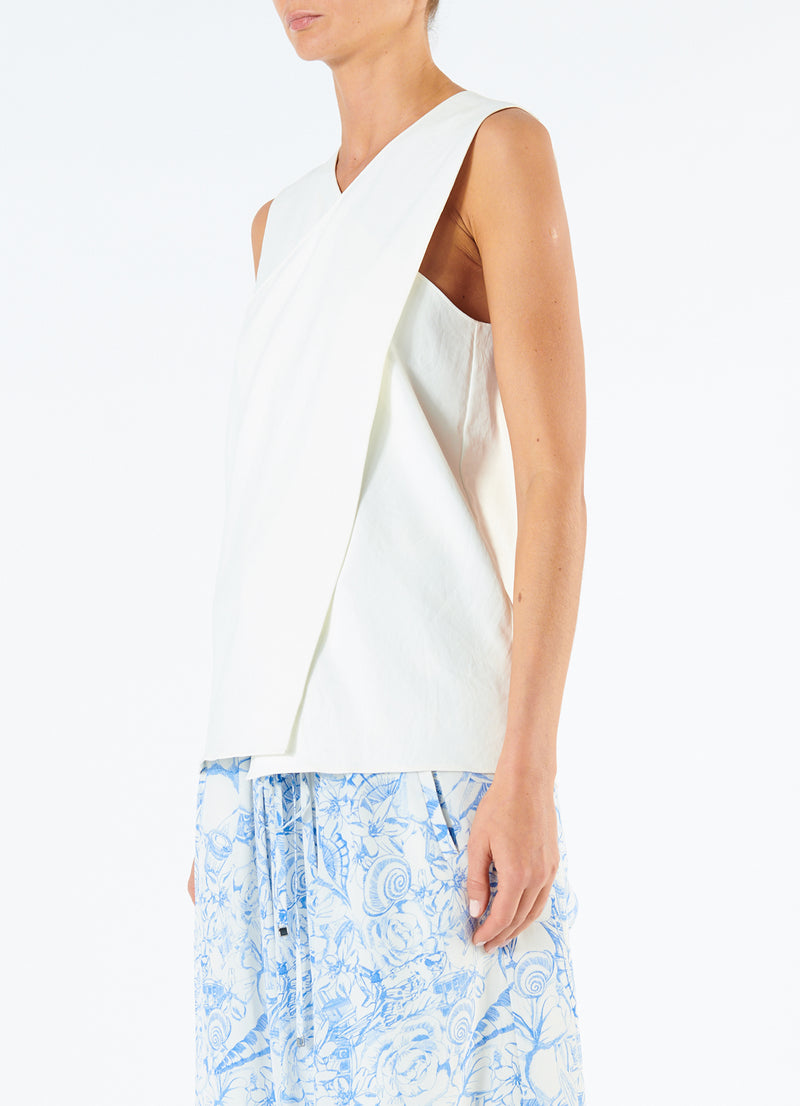 Chalky Drape Wrap Top Ivory-5