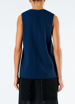 Chalky Drape Wrap Top Navy-3