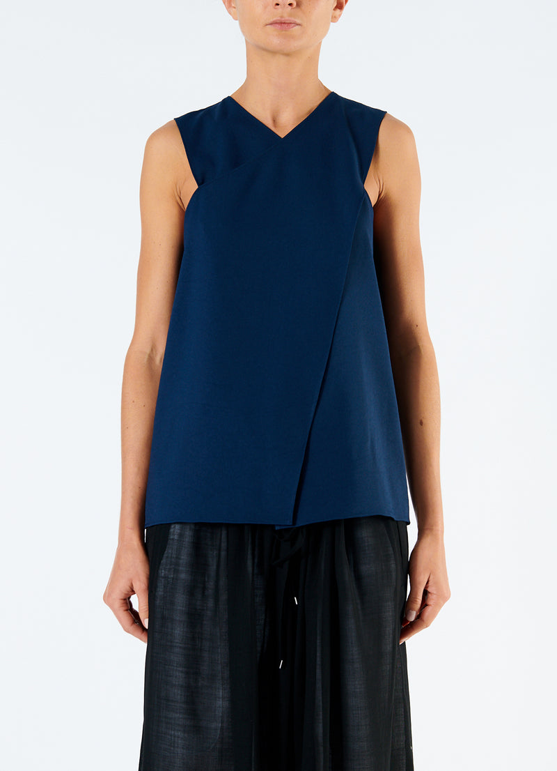 Chalky Drape Wrap Top Navy-4