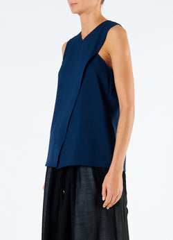 Chalky Drape Wrap Top Navy-5
