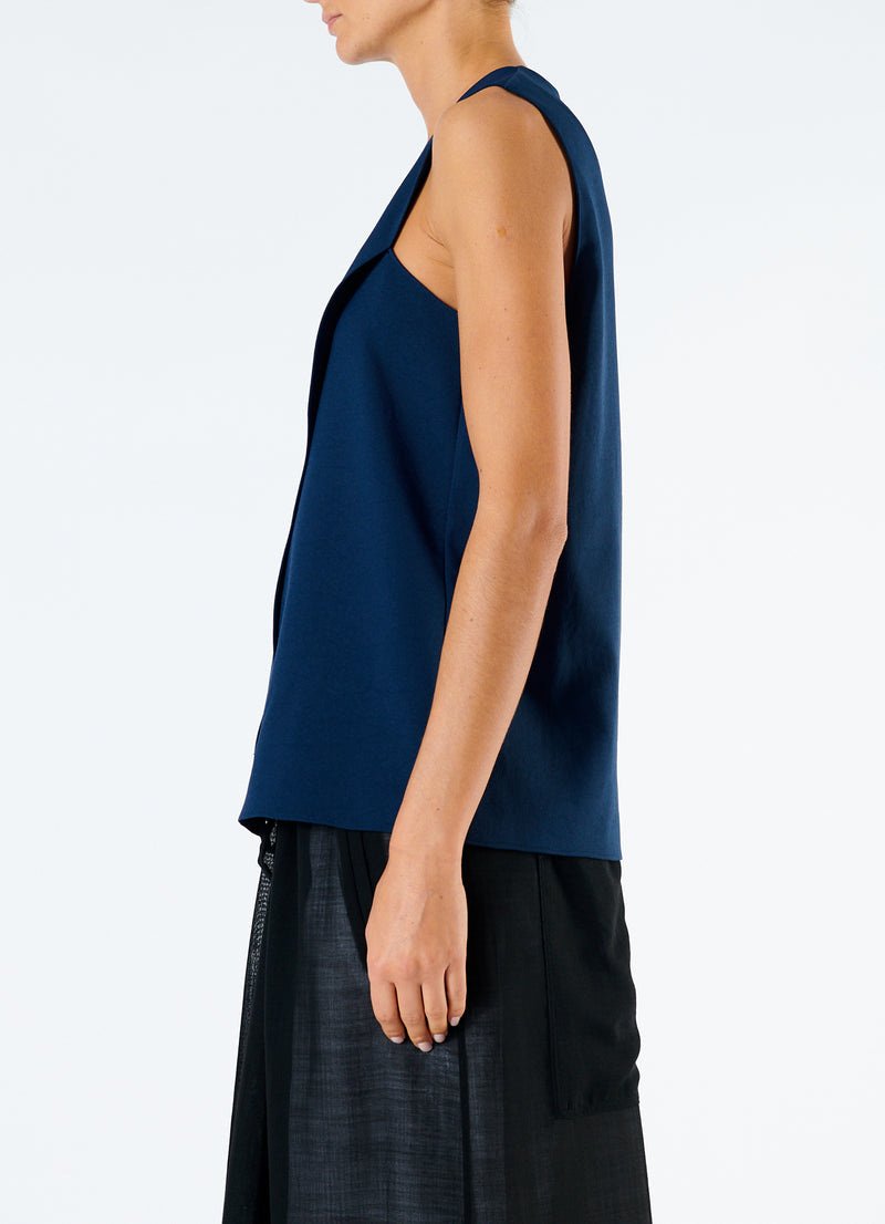 Chalky Drape Wrap Top Navy-6