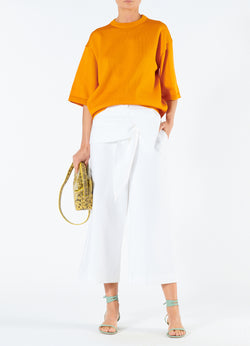 Compact Cotton Demi Cropped Pants with Removable Tie White-1