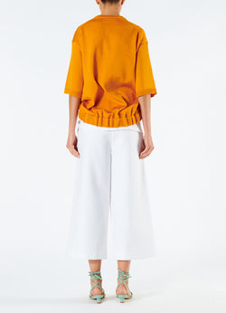 Compact Cotton Demi Cropped Pants with Removable Tie White-3