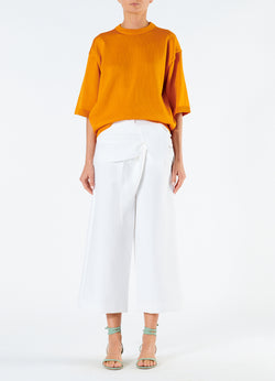 Compact Cotton Demi Cropped Pants with Removable Tie White-4