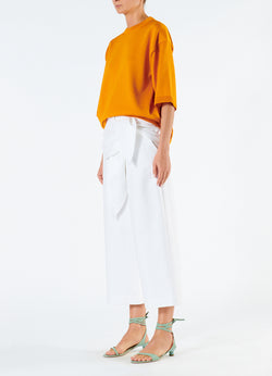 Compact Cotton Demi Cropped Pants with Removable Tie White-5