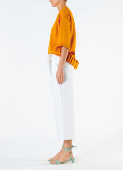 Compact Cotton Demi Cropped Pants with Removable Tie White-6