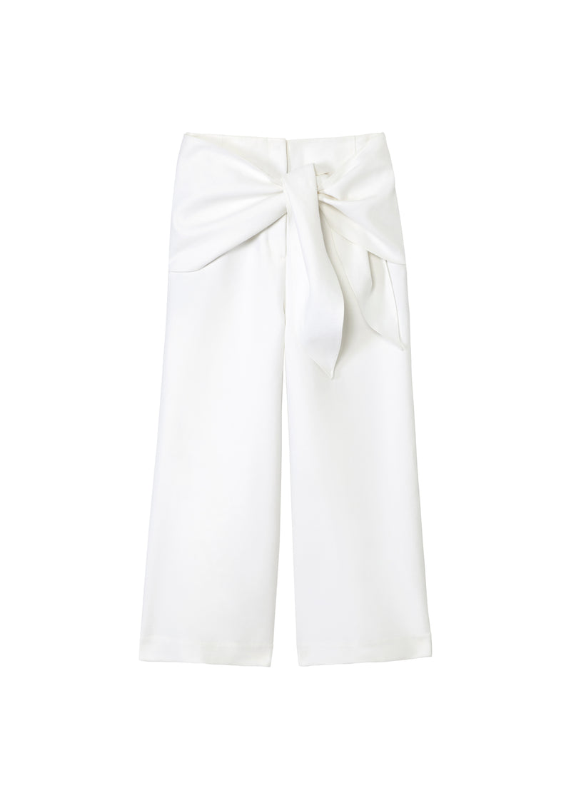 Compact Cotton Demi Cropped Pants with Removable Tie White-2