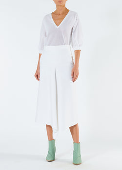 Compact Cotton Suiting Drape Skirt White-1