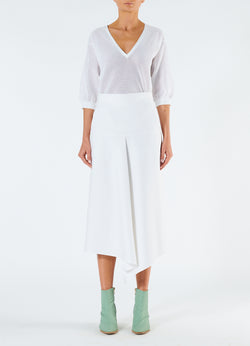 Compact Cotton Suiting Drape Skirt White-4