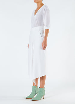 Compact Cotton Suiting Drape Skirt White-5
