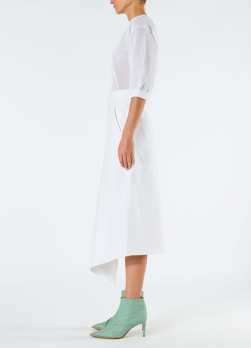 Compact Cotton Suiting Drape Skirt White-6