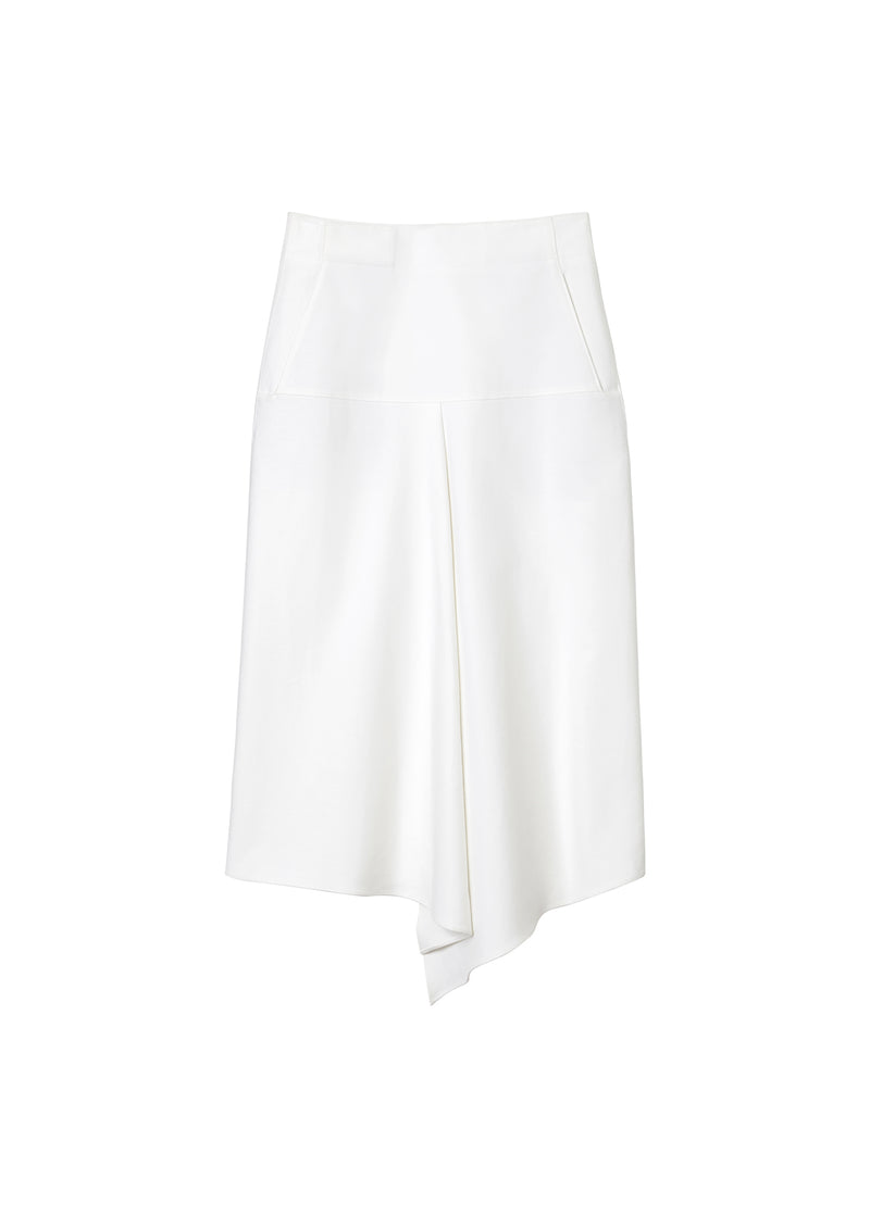 Compact Cotton Suiting Drape Skirt White-2