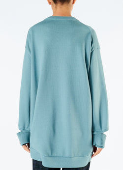 Corded Poly Oversized Tunic Sweater Ash Mint-3