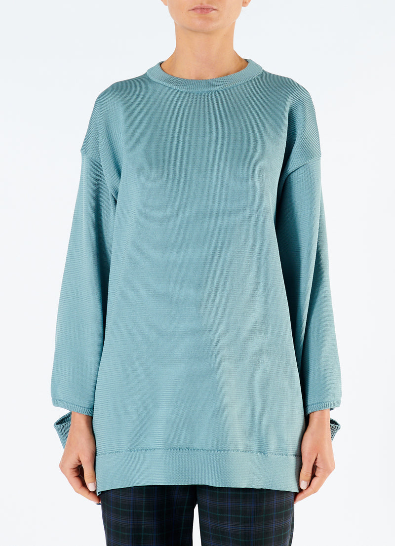 Corded Poly Oversized Tunic Sweater Ash Mint-4