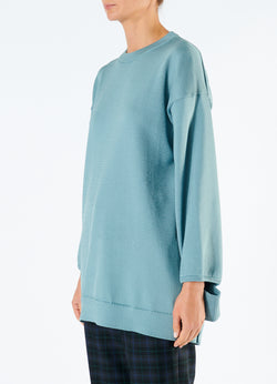 Corded Poly Oversized Tunic Sweater Ash Mint-5