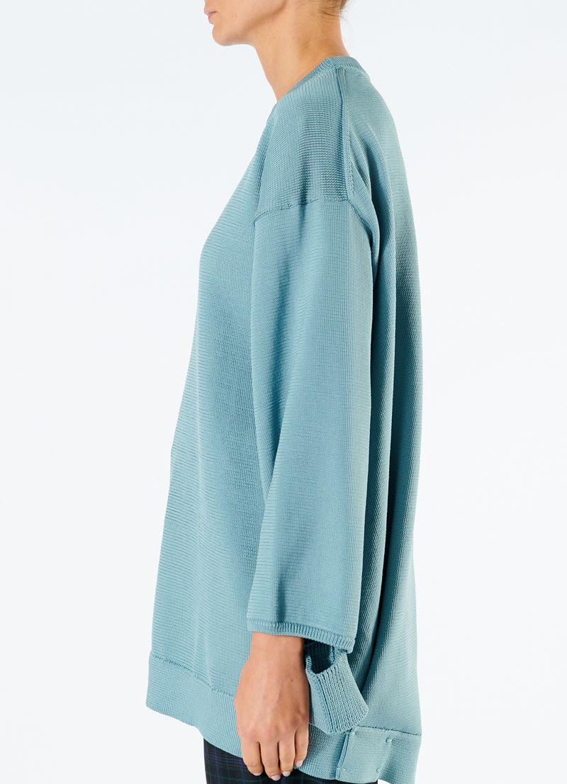 Corded Poly Oversized Tunic Sweater Ash Mint-6