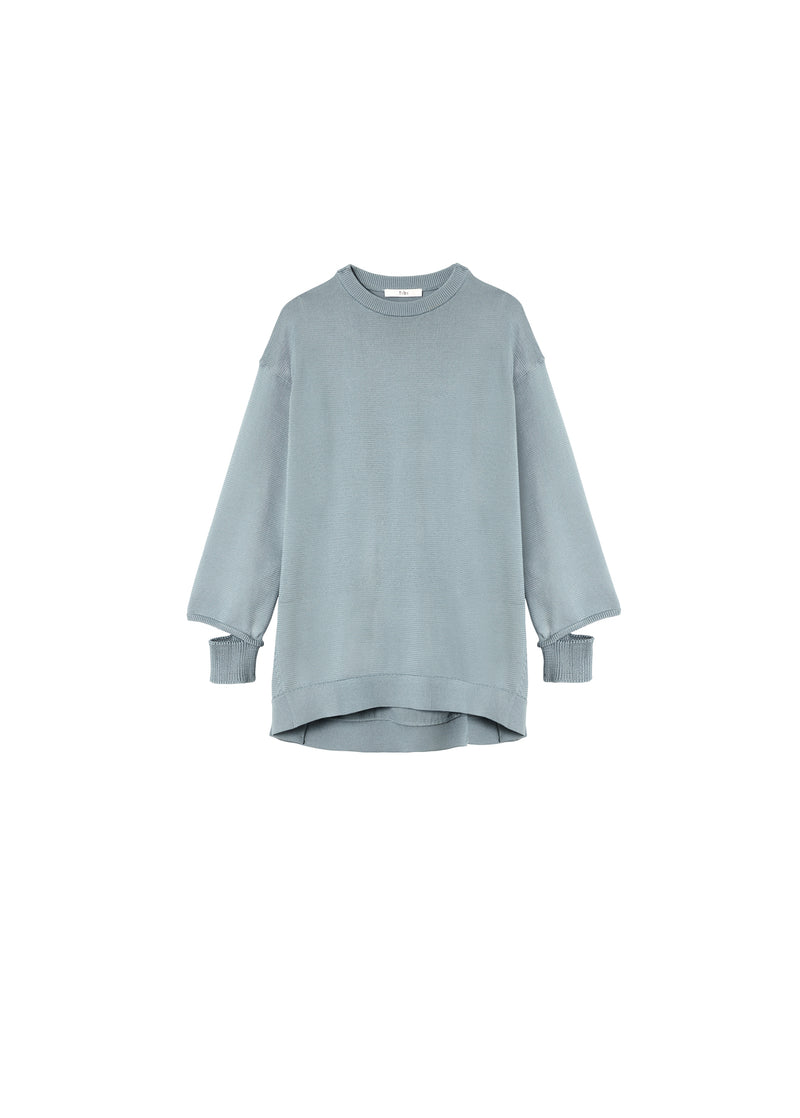 Corded Poly Oversized Tunic Sweater Ash Mint-2