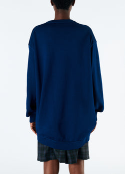 Corded Poly Oversized Tunic Sweater Denim Navy-3