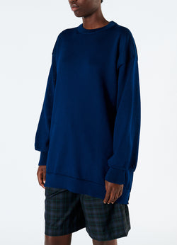 Corded Poly Oversized Tunic Sweater Denim Navy-5
