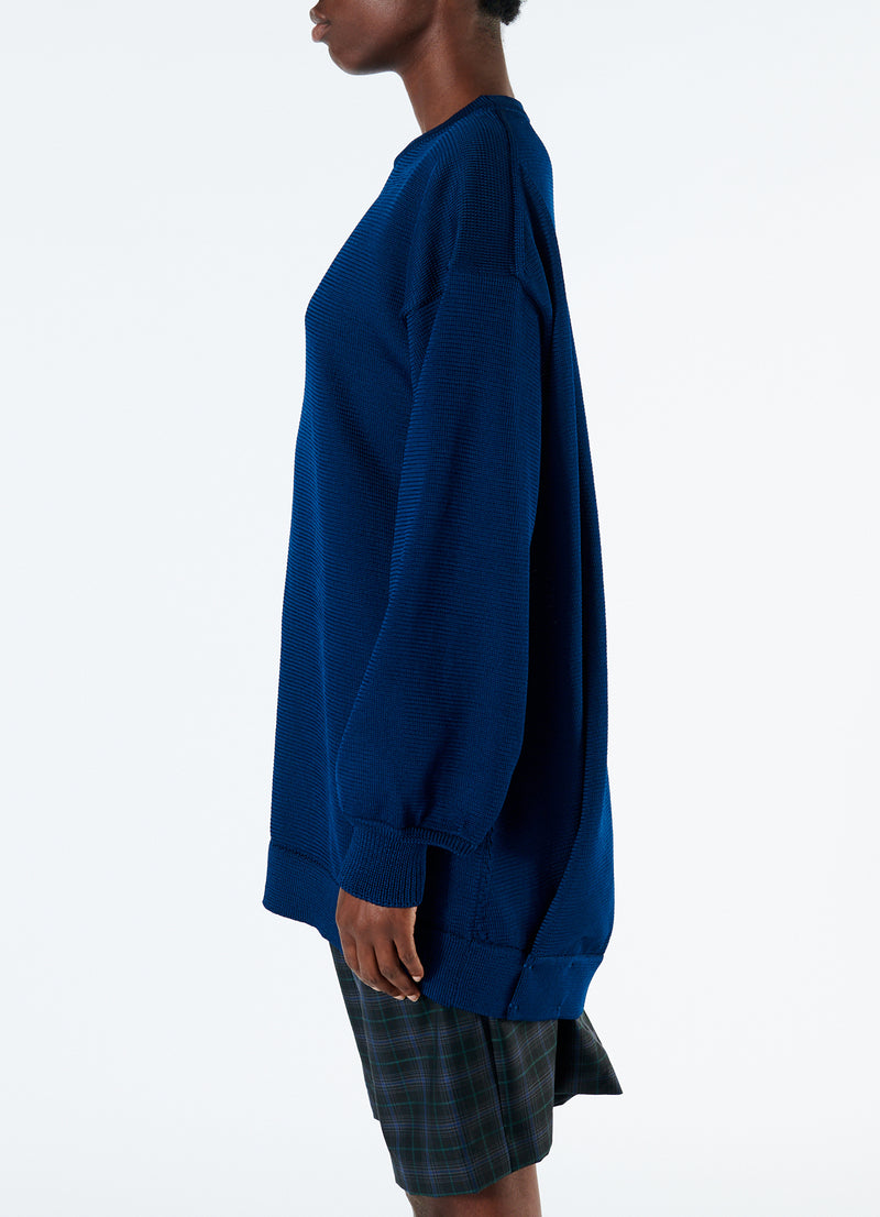 Corded Poly Oversized Tunic Sweater Denim Navy-6
