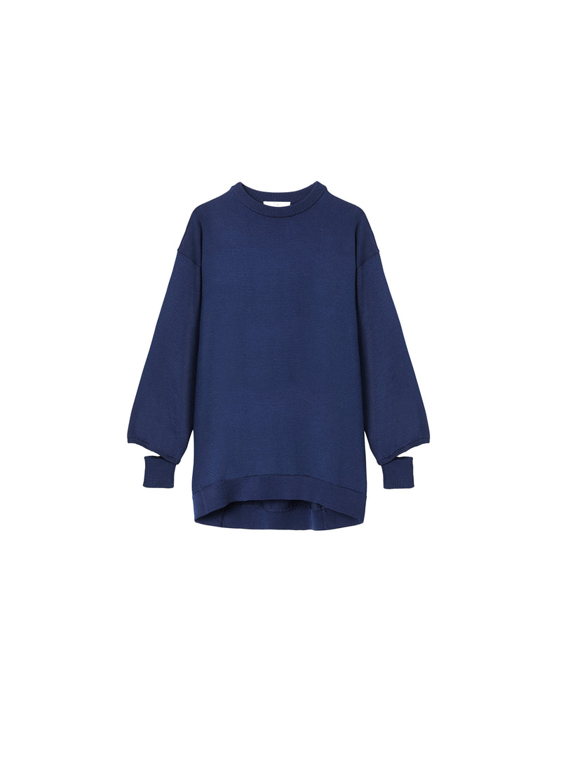 Corded Poly Oversized Tunic Sweater Denim Navy-2